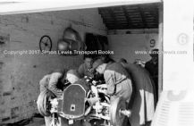 Mercedes W125 Herman Lang's car. Photo in paddock garage 1937 Donington GP
